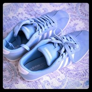 Baby blue suede Adidas tennies